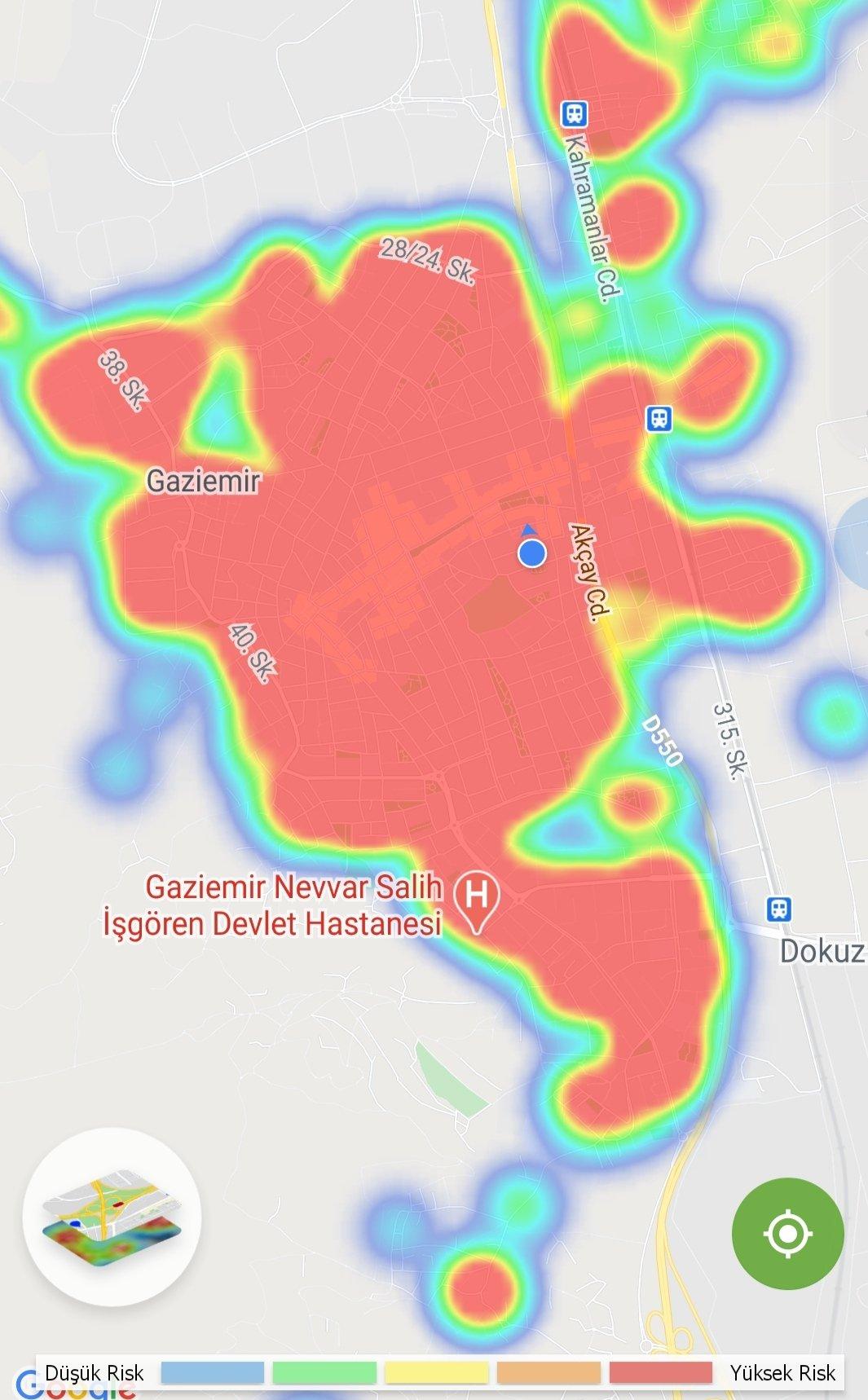 Gaziemir Korona Haritası